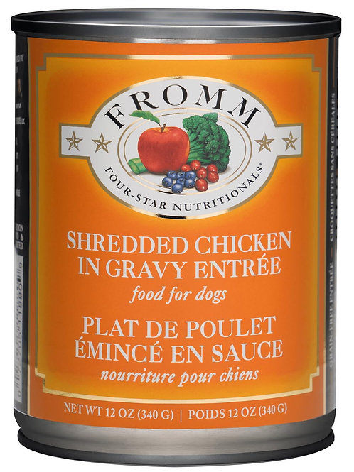 Fromm Four Star Shredded Chicken Canned Dog Food, 12oz, case of 12