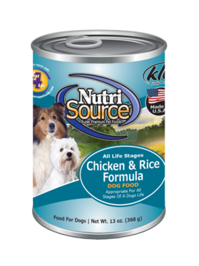 Nutrisource Adult Chicken and Rice Canned Dog Food, 13oz, case of 12
