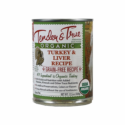 Tender & True Organic Turkey/Liver Recipe Canned Dog Food, 13oz, case of 12