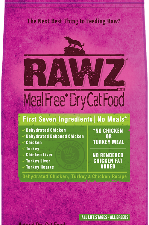 Rawz Meal Free Dry Cat Food Dehydrated Chicken, Turkey & Chicken Recipe