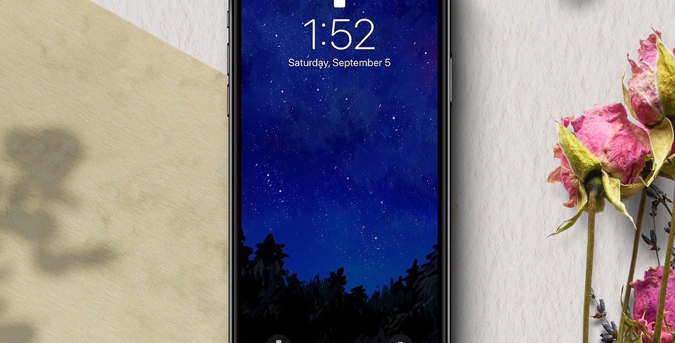 Night Sky Forest Phone Wallpaper