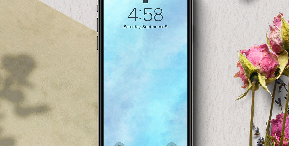 Blue Blush Watercolor Phone Wallpaper
