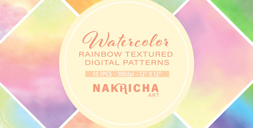 Rainbow Watercolor Digital Paper Pack