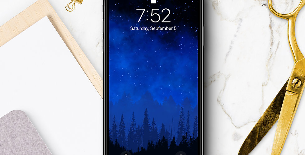 Starry Night Sky & Forest Phone Wallpaper