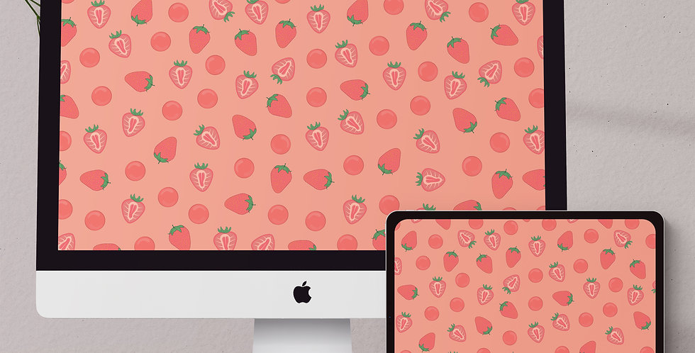 Pink Strawberry Desktop & Tablet Wallpaper