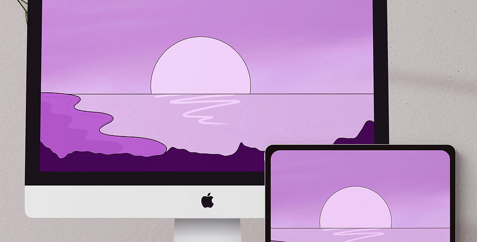 Purple Beach Sunset Desktop & Tablet Wallpaper