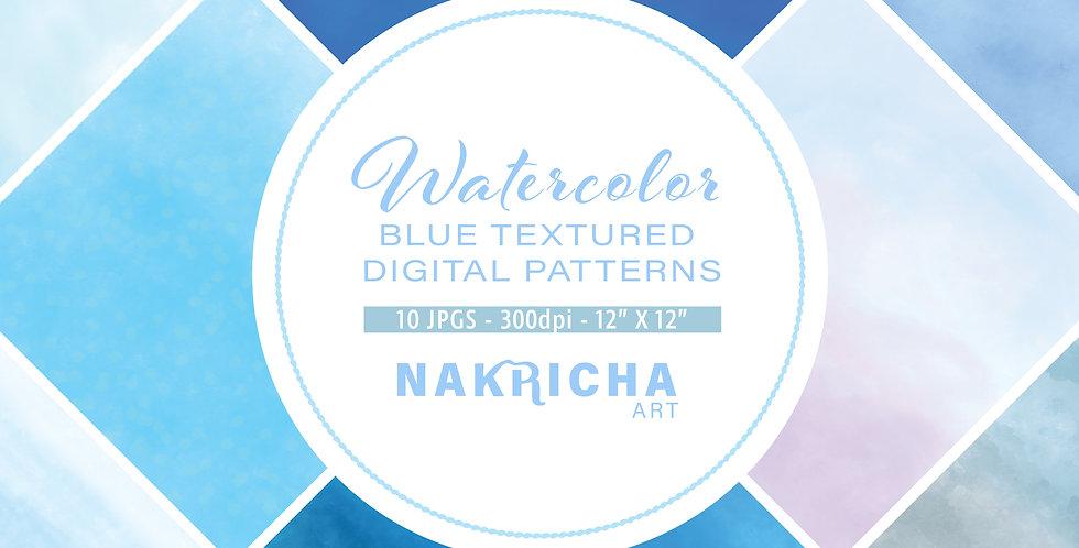 Blue Watercolor Digital Paper Pack