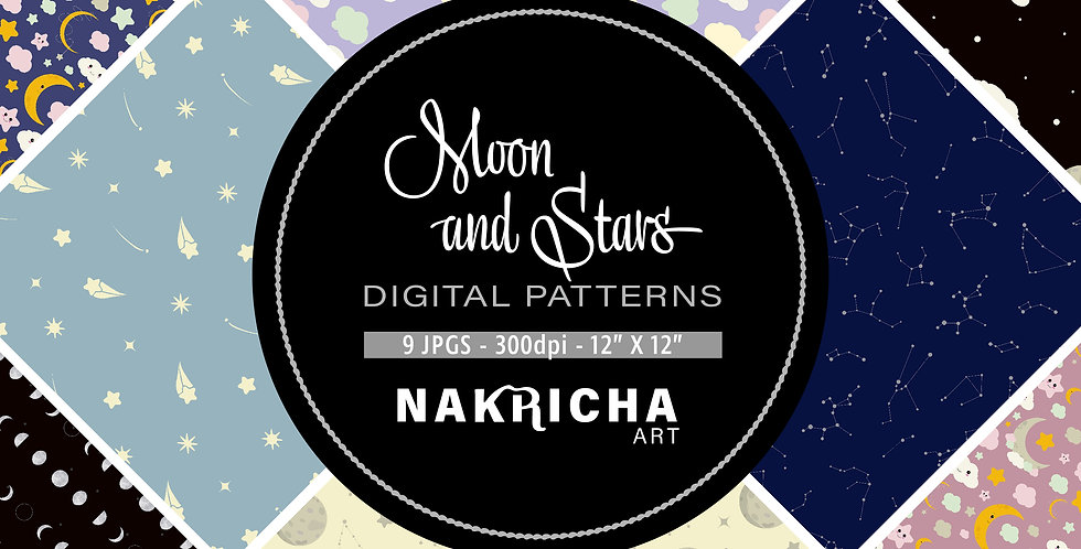 Moon & Stars Digital Paper Pack