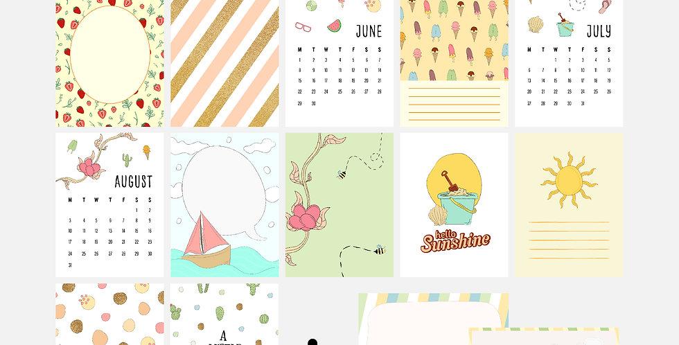 Summertime Summer Digital Journal Card Pack