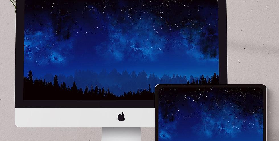 Starry Night Sky & Forest Desktop & Tablet Wallpaper