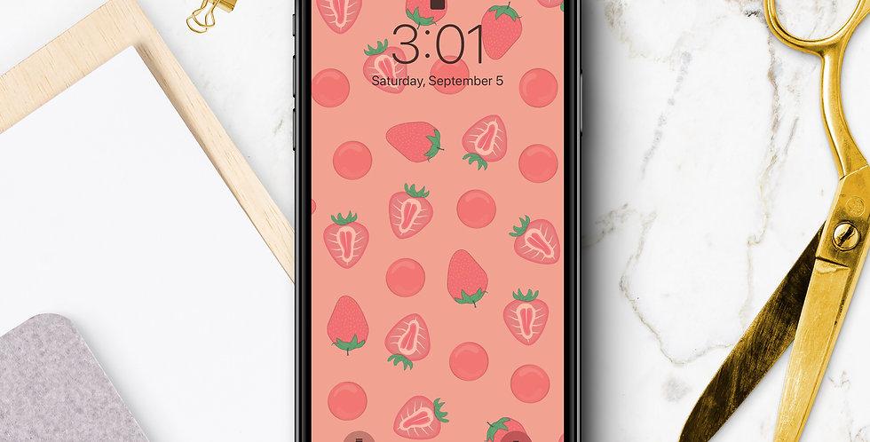 Pink Strawberry Phone Wallpaper