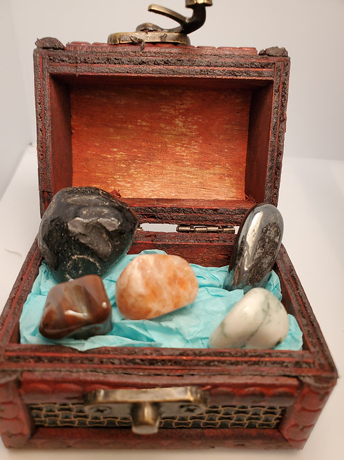 Anxiety Crystal Kit with Treasure Box