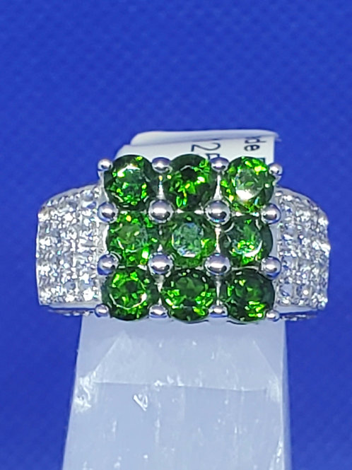 Emerald (lab) crystal ring