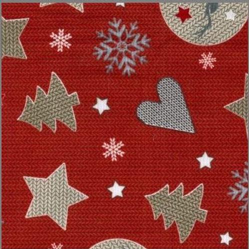 Christmas stars and hearts-polycotton.