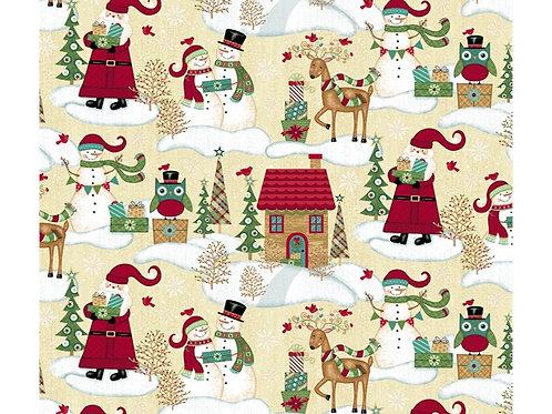 Holly Jolly Christmas snow scene