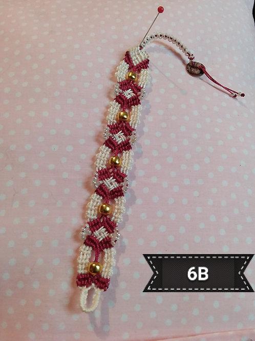 Macrame-Burgundy/cream Gold Bead Bracelet