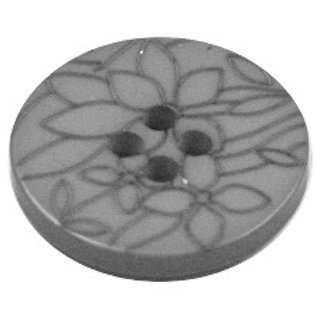 Acrylic Button 4 Hole Flower Engraved 20mm Warm Grey