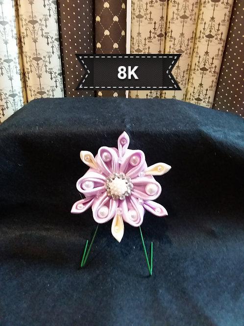 Kanzashi-Lilac/cream flower hair grip