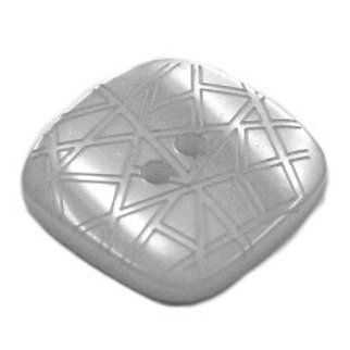 Button 2 Hole Square Gloss Embossed 20mm Bluey Grey