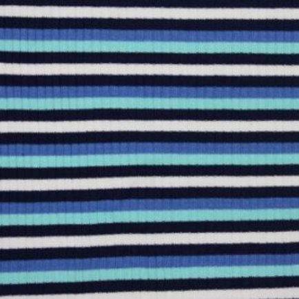 Stripe Viscose Jersey Ribbing-blue