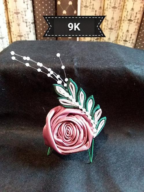 Kanzashi-Dusky pink rose brooch
