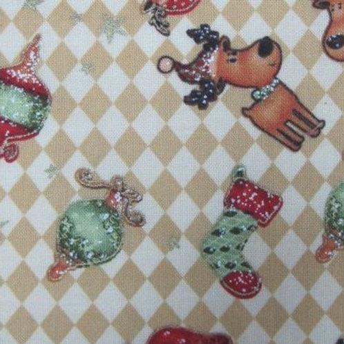 Santa Reindeer-Poly cotton