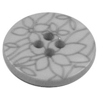 Acrylic Button 4 Hole Flower Engraved 20mm Cool Grey