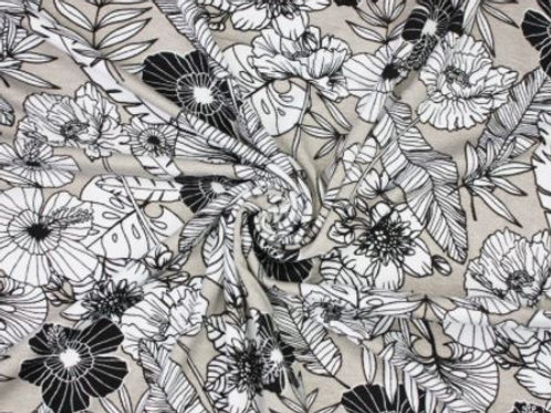 Floral stretch Jersey-Sliver