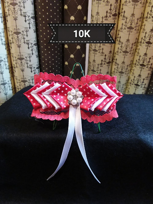 Kanzashi Red and white Hair slide