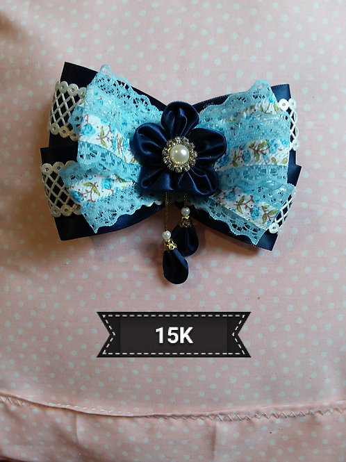 Kanzashi-Blue Flower drop Hair slide
