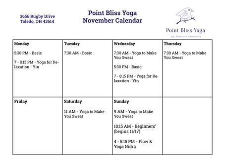 New Classes in November