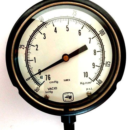 MANOMETRO MOD. 451010T2L RGO 76-0-10 INF 1/4 CONEX  Y BURDON DE BRONCE SUREX