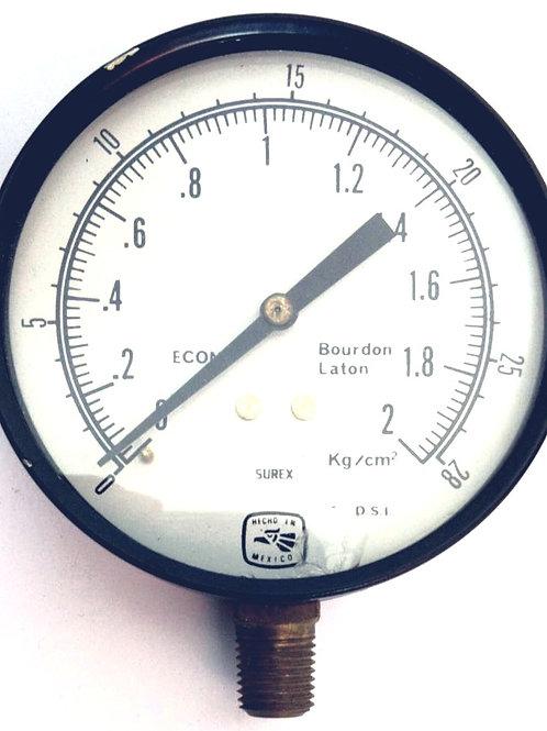 MANOMETRO MOD. 35-10002L RGO 0-2 KG CONEX INFERIOR Y BURDON DE BRONCE SUREX