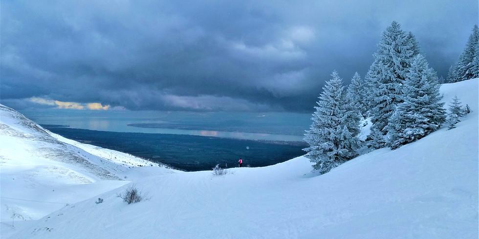 14 Feb. / Night snowshoeing on the Jura mountain / Randonnéenocturne en raquettes sur le Jura (1)