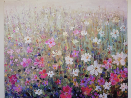 """""""Flowers in the long grass"""" Giclee on wooden block"""