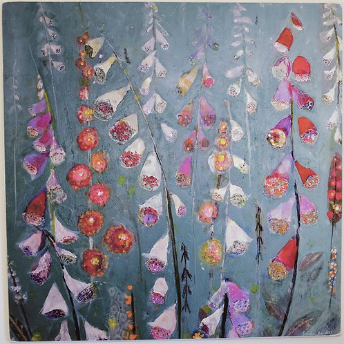 """Jewel garden"" limited edition on wooden block"