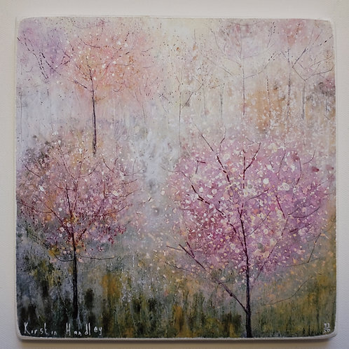 """The delicate blossom trees"" Giclee on wooden block"