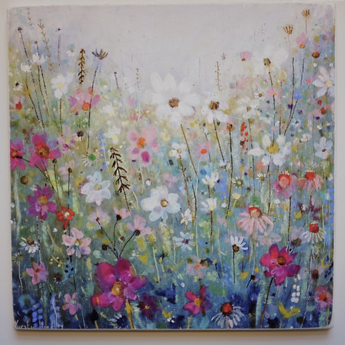 """The restful garden"" Giclee on wooden block"
