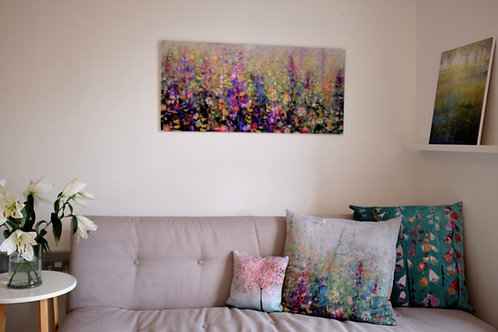 """Watching the flowers grow"" limited edition giclee on wooden block."