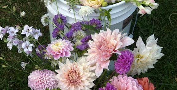 seasonal flower & foliage bucket May
