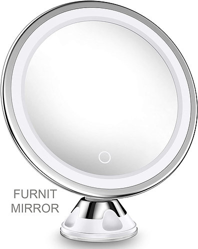 FURNIT 10x Magnifying Lighted Makeup Mirror with 360° Rotation