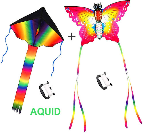 AQUID Large Rainbow Delta and Butterfly Kites 2 Pack