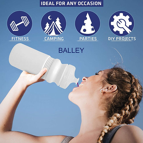 BALLEY 20 oz Sports Water Bottles, 6 Pack, Reusable No BPA Plastic
