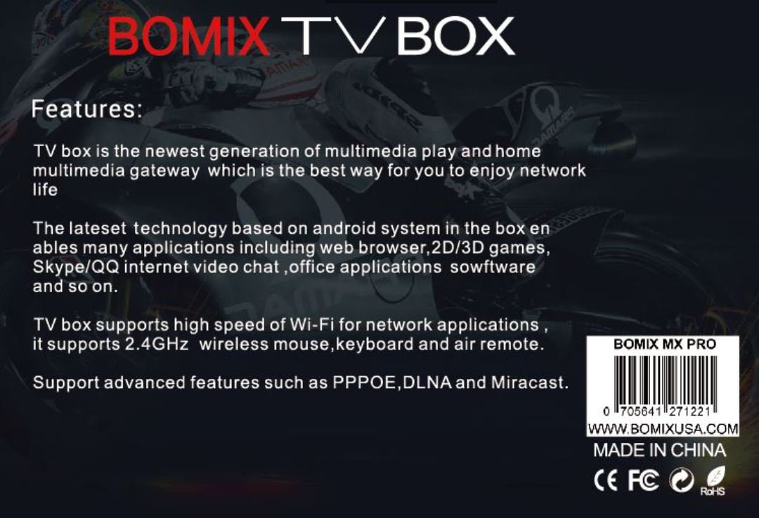 BOMIX Android TV BOX, MX Pro Am logic S905X Android 1G/8G