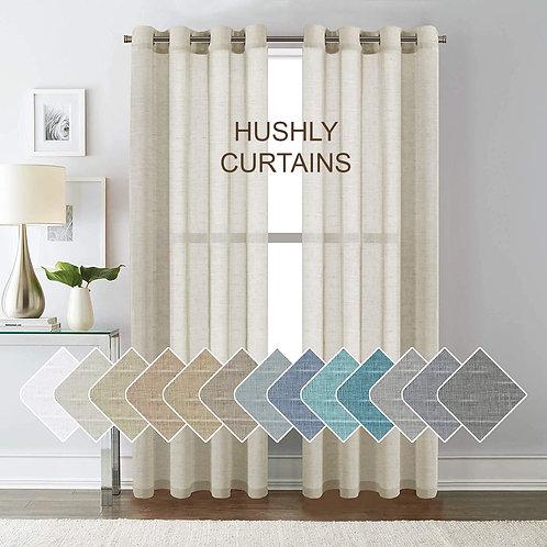 HUSHLY Natural Linen Blended Curtain Panels for Living Room/Light