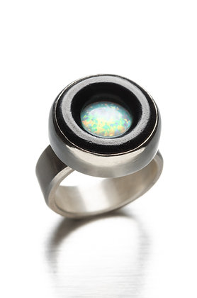 Ebony, Silver & Opal Circle Ring