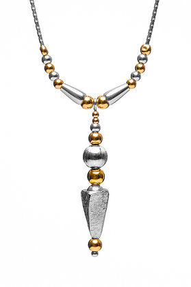 Cone with Silver bead and beaded chain