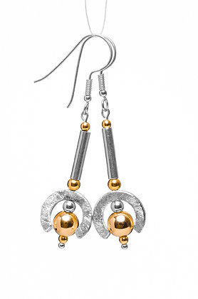 Circle Earrings with Gold bead