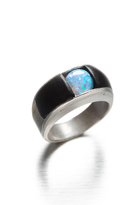 Ebony, Silver and Opal Ring