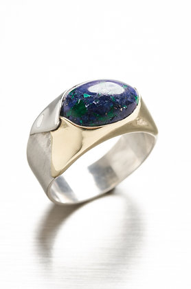 Gold, Silver and Azurite Ring